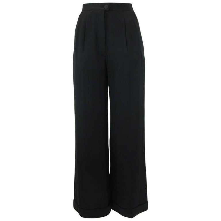 Chanel Black Silk Cropped Cuffed Wide Leg Pants