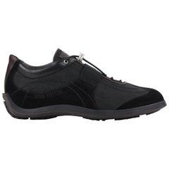 """LOUIS VUITTON c.2005 """"Damier Geant Chrono"""" Black Suede Leather & Canvas Sneaker"""