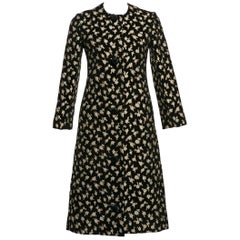 1960's Pauline Trigere  Black Chenille Metallic Floral Brocade Tailored Coat
