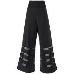 ISSEY MIYAKE A-Poc Inside DAI FUJIWARA Black Knit Mesh Detail Wide Leg Pants