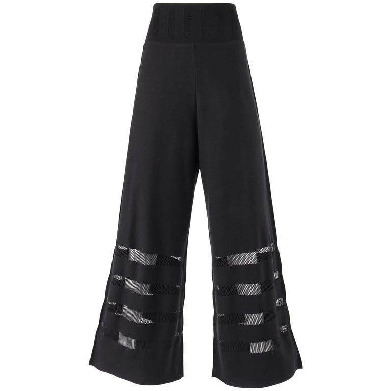 ISSEY MIYAKE A-Poc Inside DAI FUJIWARA Black Knit Mesh Detail Wide Leg Pants For Sale