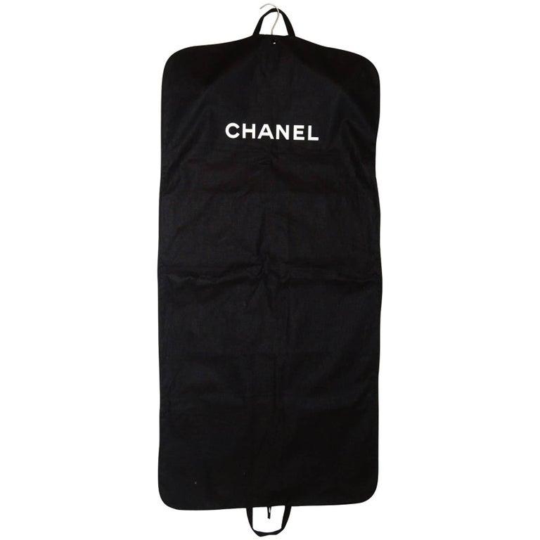 07e7ae9e71ab Chanel Black Canvas Garment Bag and Velvet Coat Hanger Set at 1stdibs
