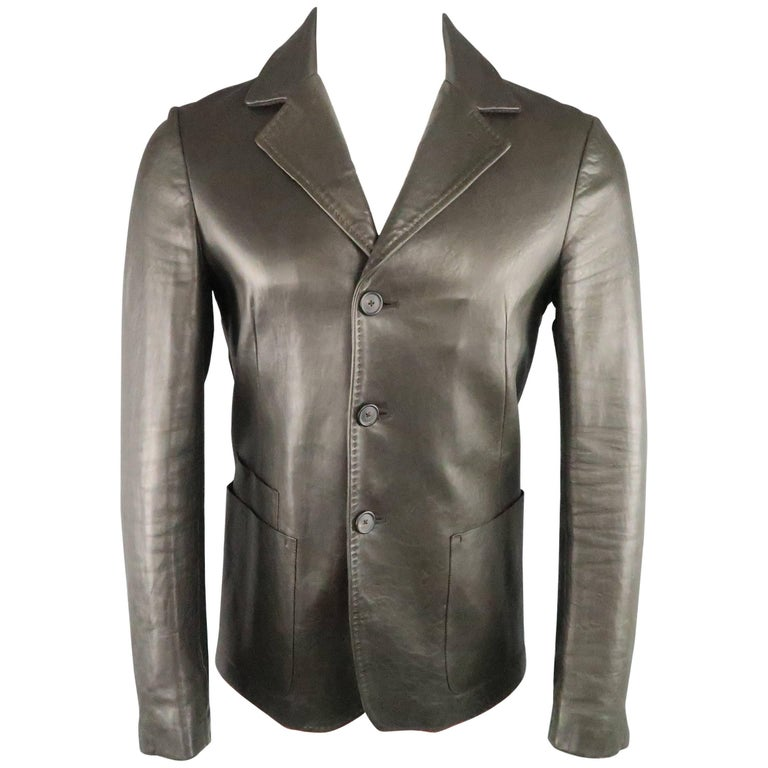 Men's JIL SANDER Leather Jacket 36 Charcoal Top Stitch Sport Coat - Retail $3075
