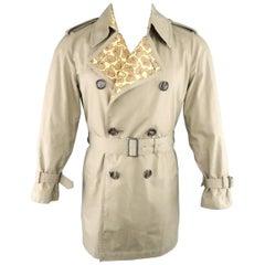 Men's JUNYA WATANABE S Khaki Cotton Yellow Paisley Liner Trenchcoat