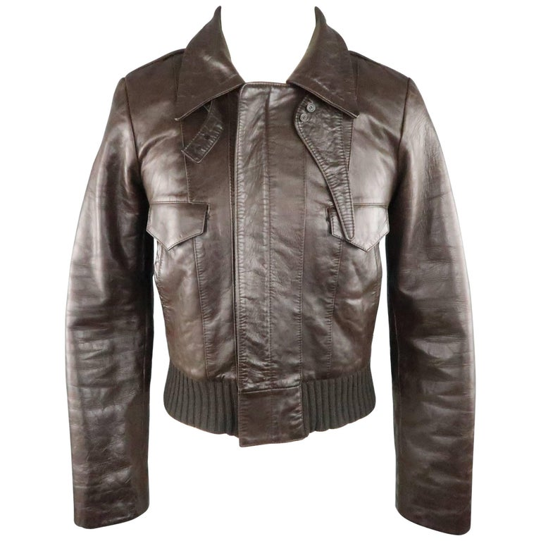 BALENCIAGA 38 Brown Leather Collared Cropped Bomber Jacket For Sale
