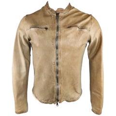 Men's GIORGIO BRATO 38 Tan Textured Distressed Leather Motorcycle Jacket