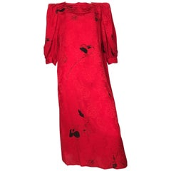 Flora Kung Special Edition 1980s Red Silk Floral Dress Size 8.