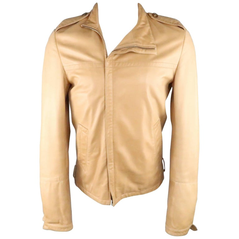Men's GUCCI by TOM FORD 38 Light Tan Leather Motorcycle Jacket 2000 For Sale