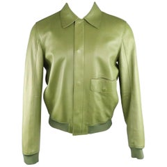 Men's 3.1 PHILLIP LIM 40 Green Leather Hidden Placket Collared Bomber Jacket
