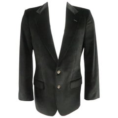 Men's YVES SAINT LAURENT 38 Black Velvet Notch Lapel 2 Button Sport Coat