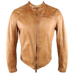 Men's EMPORIO ARMANI 40 Tan Distressed Leathe Belted Collar Motorcycle Jacket