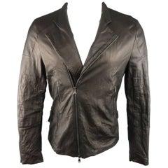 Men's FORME 3'3204322896 40 Black Wrinkle Textured Leather Biker Jacket