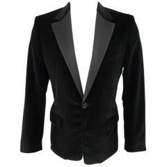 LOUIS VUITTON 40 Black Cotton / Cashmere Velvet Dinner Jacket