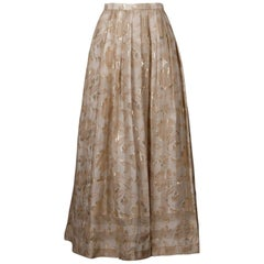 Oscar de la Renta Vintage Metallic Gold White Nude Silk Evening Maxi Skirt