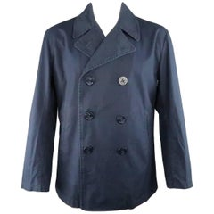 Men's JUNYA WATANABE MAN L Navy Solid Cotton Double Breasted Peacoat Jacket