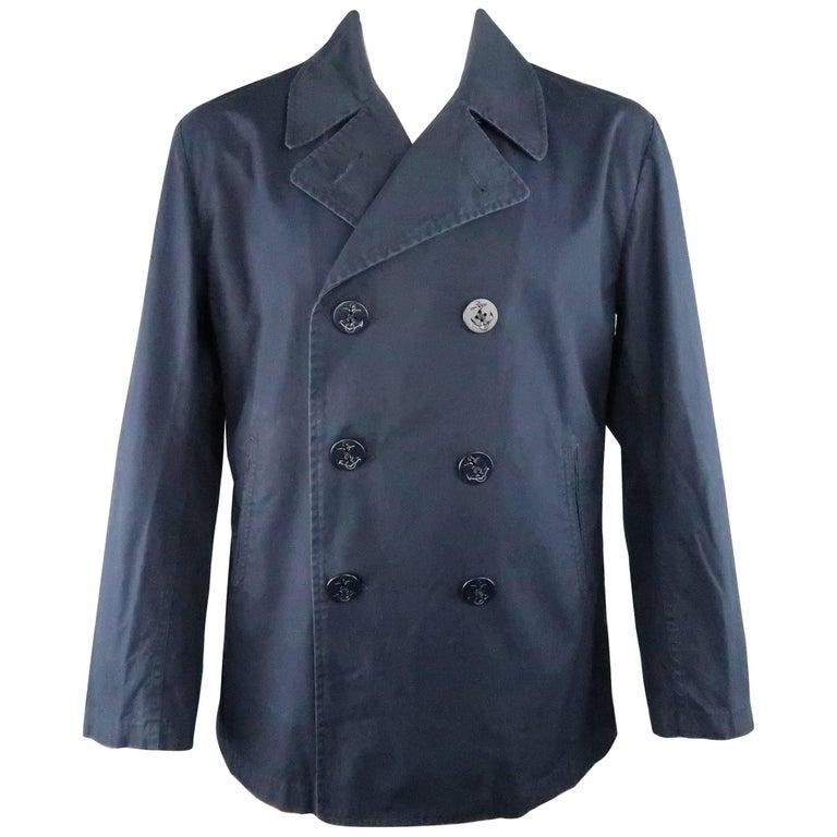 Men's JUNYA WATANABE MAN L Navy Solid Cotton Double Breasted Peacoat Jacket