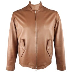 Men's GOLDEN BEAR 40 Light Brown Solid Leather High Collar Bomber Jacket