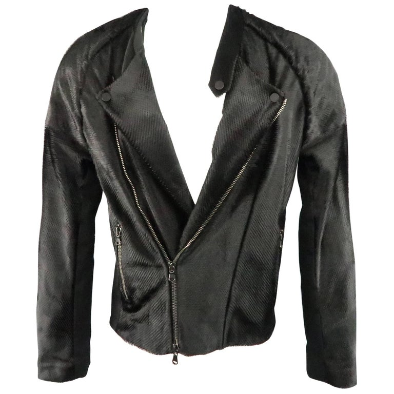 BAJA EAST 40 Black Perforated Ponyhair Leather and Twill Biker Jacket 2