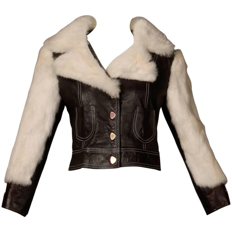 1970s Vintage Brown Leather Jacket with White Rabbit Fur For Sale