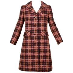 Gorgeous 1960s Jack Feit for Nan Duskin Vintage Pink Plaid Heavy Wool Coat