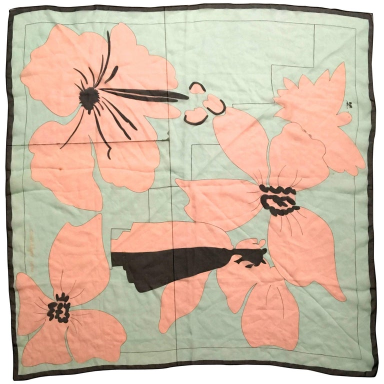 Rare Courreges Scarf - 100% Silk  For Sale
