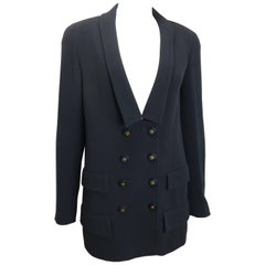Chanel Black Wool Shawl Neck Double Breasted Jacket