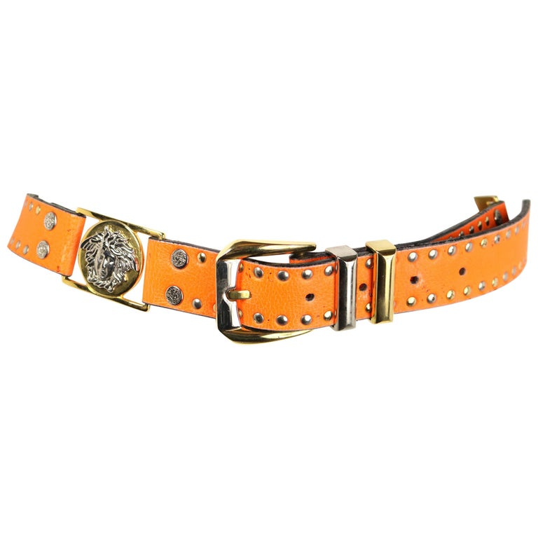 Gianni Versace Orange Lambskin Leather Gold/Silver Medusa Studs Belt