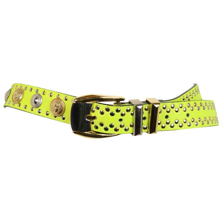 Gianni Versace Neon Green/Yellow Lambskin Leather Studs Belt  For Sale