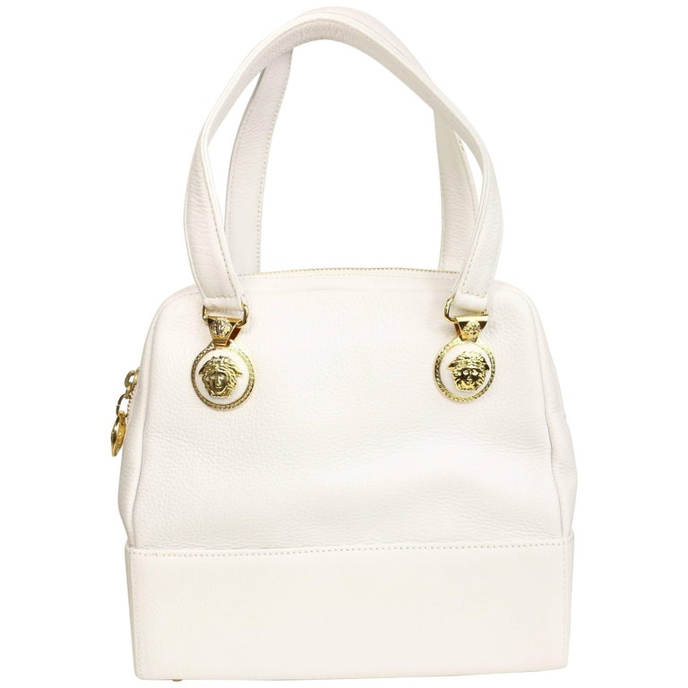 Gianni Versace Couture White Leather with Gold Toned Medusa Handbag