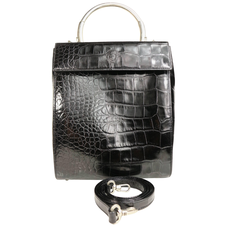 Unused vintage 90s Gianni Versace Black Croc Leather flap Shoulder Bag