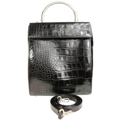 Gianni Versace Black Croc Leather flap Shoulder Bag