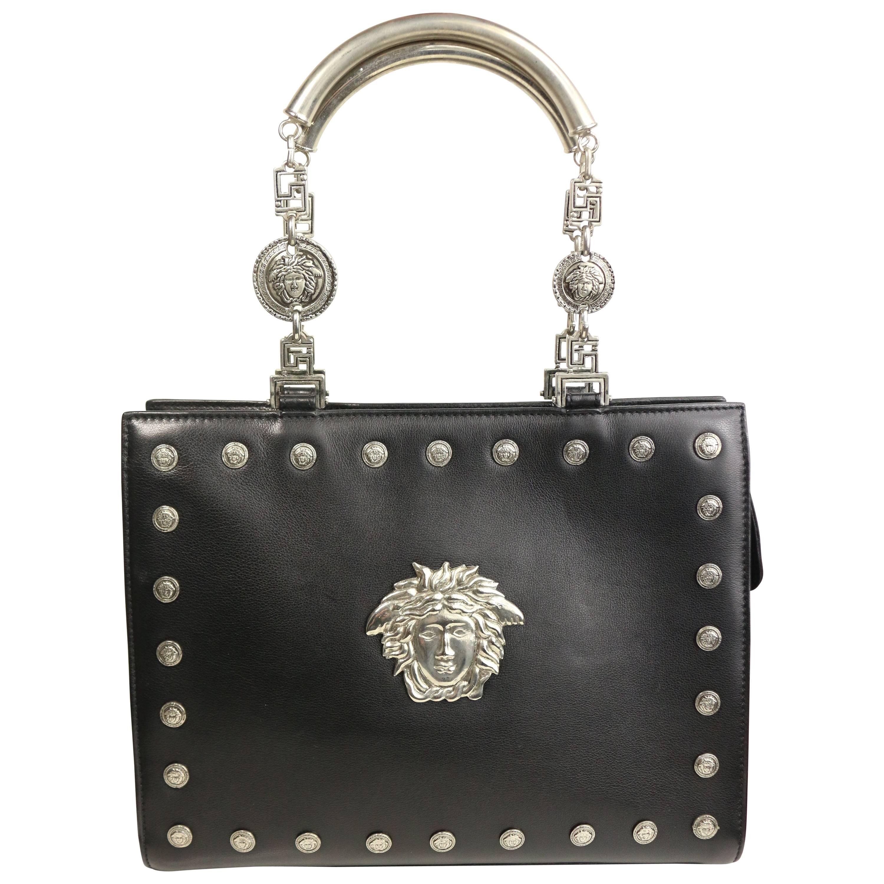 20e88e3a74d0 Gianni Versace Couture Black Leather Embedded Silver Medusa Handbag at  1stdibs