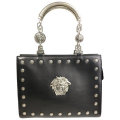 Gianni Versace Couture Black Leather Embedded Silver Medusa Handbag