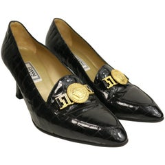 Vintage 90s Gianni Versace Black Croc Patent Leather Pointy Heels