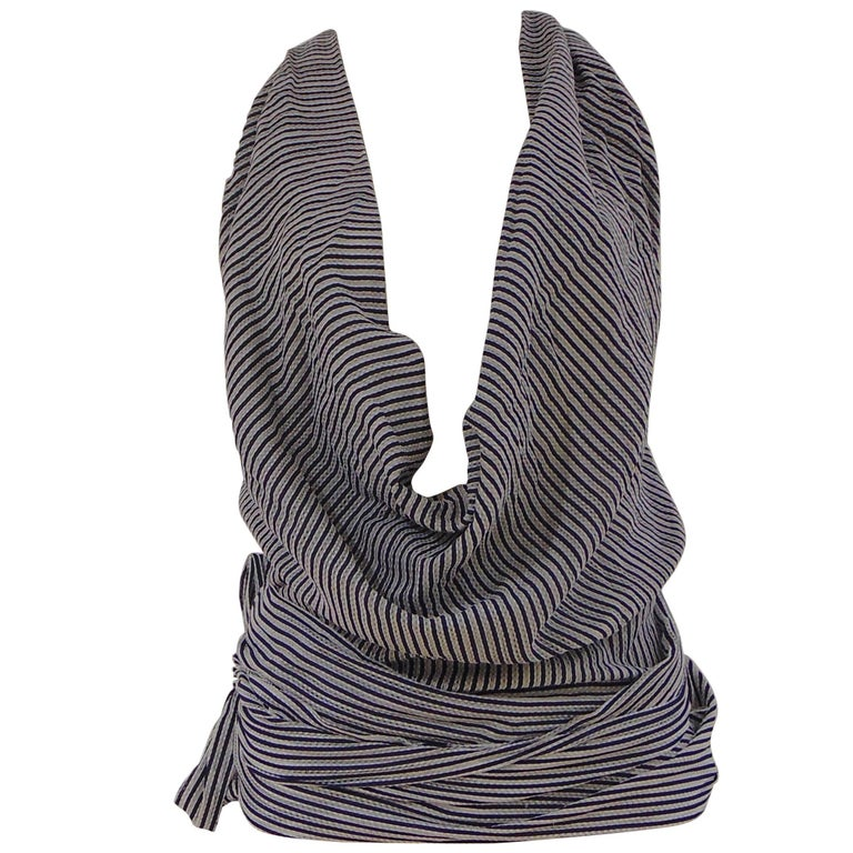Gucci by Tom Ford white blu stripes top