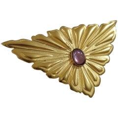 Emilio Pucci gold tone purple stone brooch - pin