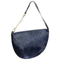 Gucci by Tom Ford Navy Pony Hair Half Circle Jumbo Shoulder Bag