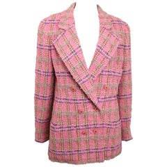 94 Chanel Pink Wool Multi Coloured Check Pattern Tweed Double Breasted Jacket
