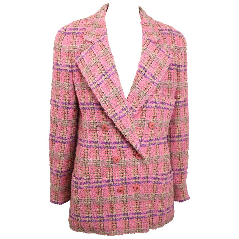 Chanel Pink Wool Multi Coloured Check Pattern Tweed Double Breasted Jacket