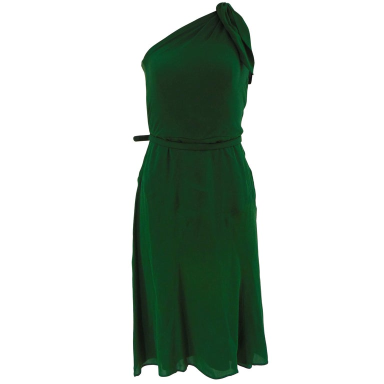 2004 Gucci green silk dress with belt