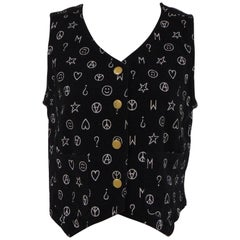 Moschino Jeans black & white peace cotton gilet