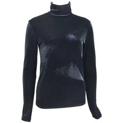 Y's by Yohji Yamamoto Black Velvet Long Sleeves Turtleneck Top