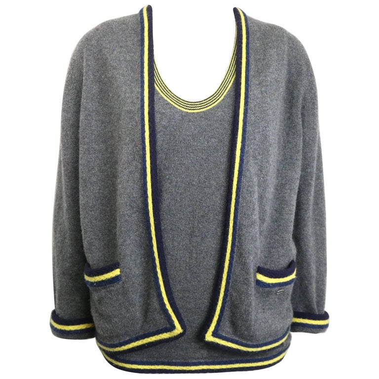 Chanel Grey Cashmere with Piping Trim Twin Set