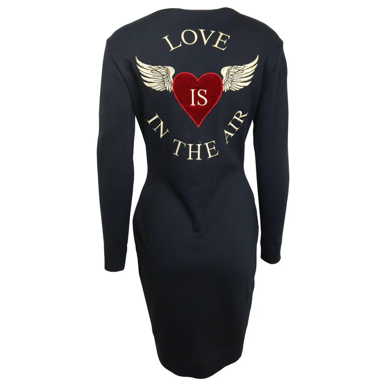 "Moschino Black Wool ""LOVE IS IN THE AIR"" Dress"