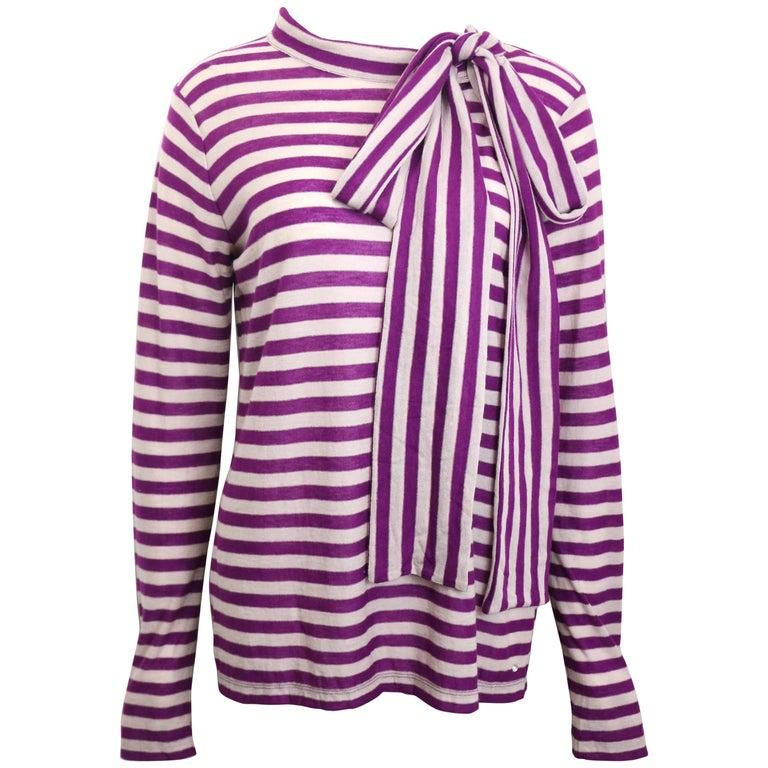 Sonia Rykiel Purple and White Stripe Wool Top