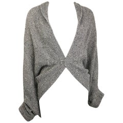 Limi Feu Grey Knitted Wool Bolero Cardigan with Silver Pin