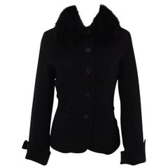 Loro Piana black wool cachemire fox fur Jacket