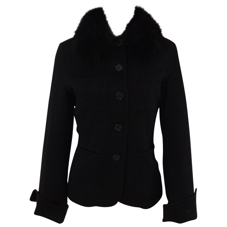 Loro Piana black wool cachemire fox fur Jacket For Sale