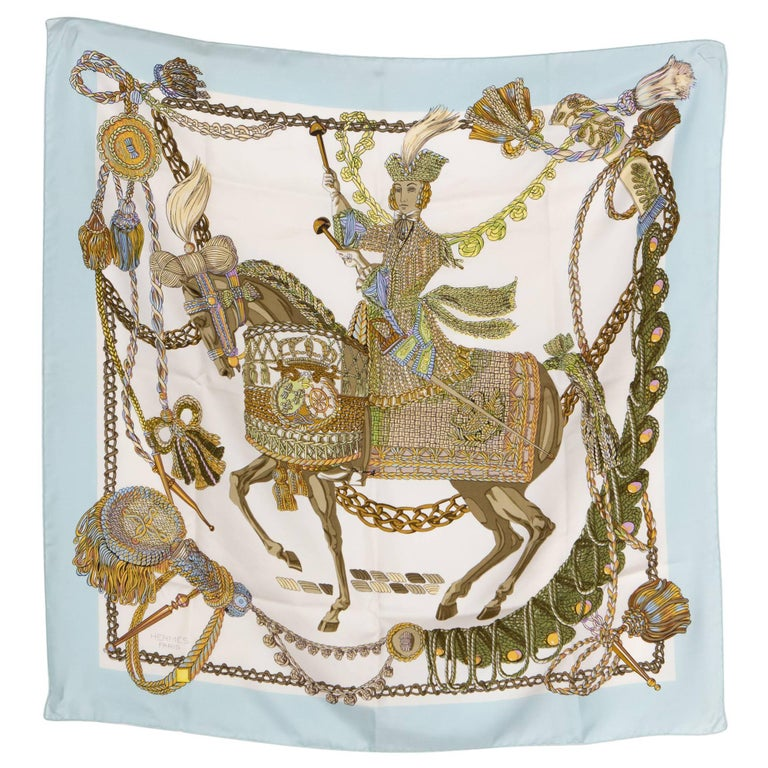 Blue Hermes Silk Scarf Le Timbalier Designed by Francoise Heron