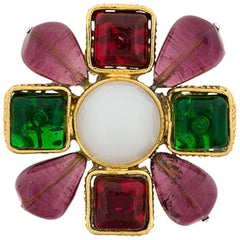 Multicolor Gold Plated Gripoix Chanel Brooch